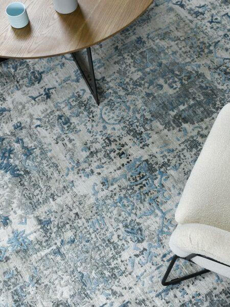 Bastille Silver Blue grey handloom knotted wool & artsilk rug - lifestyle image