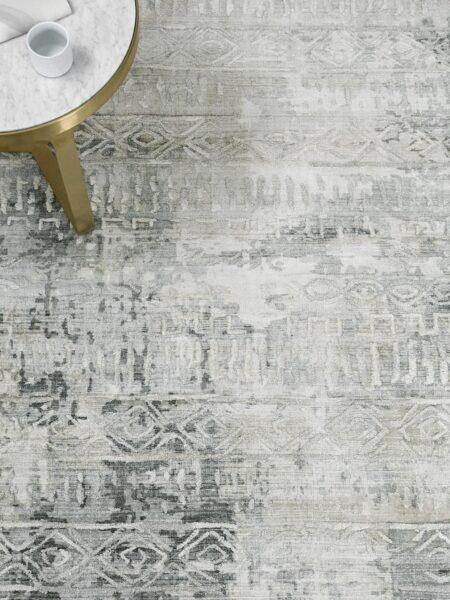 Bastille Silver Grey handloom knotted wool & artsilk rug - lifestyle image
