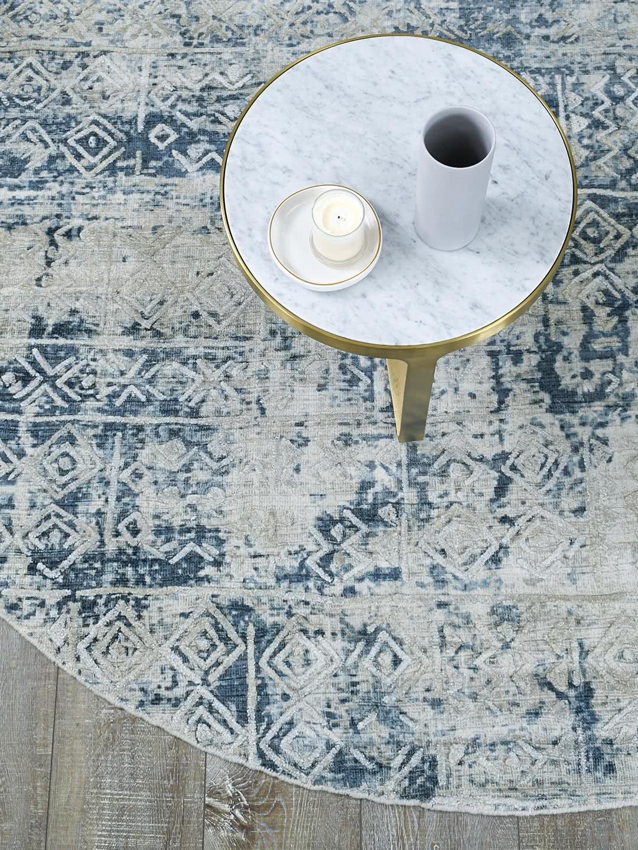 Bastille Silver Indigo blue grey handloom knotted wool & artsilk round rug - lifestyle image