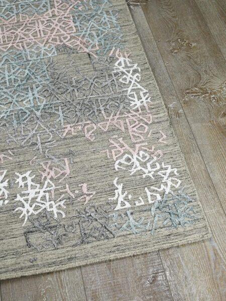 Cayenne Beige/Multi handloom knotted wool & artsilk rug - corner image