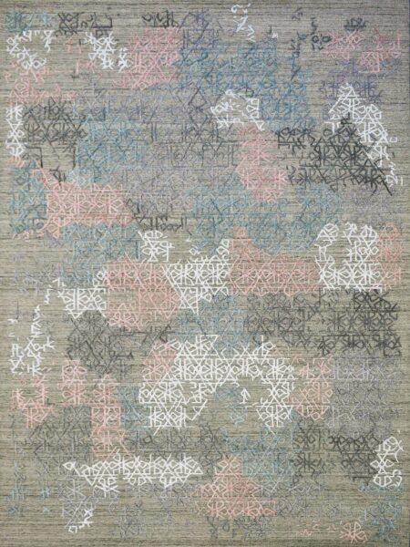 Cayenne Beige/Multi handloom knotted wool & artsilk rug - overhead image