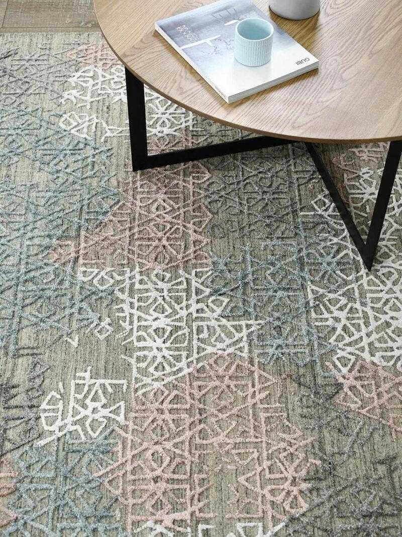 Cayenne Beige/Multi handloom knotted wool & artsilk rug - lifestyle image