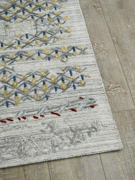 Cayenne Silver/Multi handloom knotted wool & artsilk rug - corner image