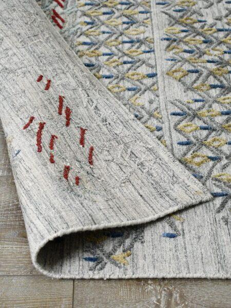 Cayenne Silver/Multi handloom knotted wool & artsilk rug - back image