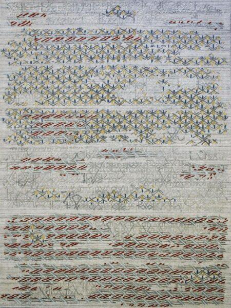 Cayenne Silver/Multi handloom knotted wool & artsilk rug - overhead image