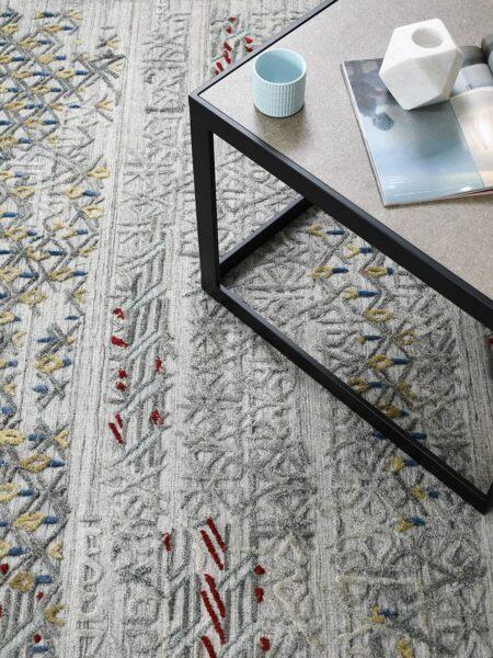 Cayenne Silver/Multi handloom knotted wool & artsilk rug - lifestyle image