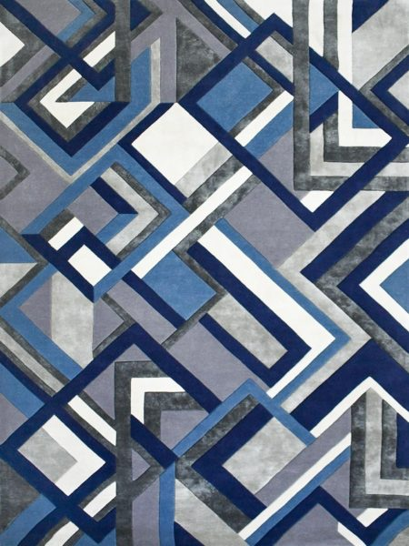 Element Bluejay handtufted wool and artsilk rug with geometric pattern in blue and grey tones