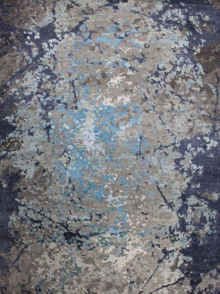 Harlem Handknot rug in blue overhead image