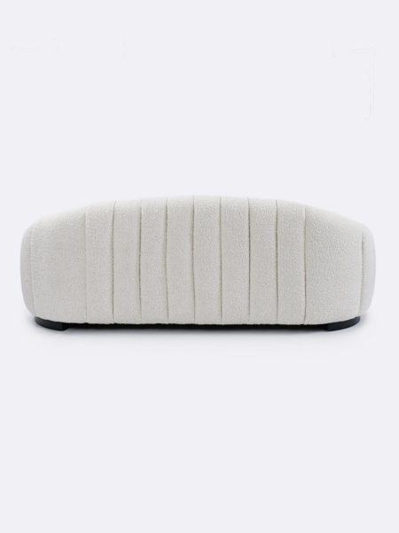 Lily Sofa in Ivory boucle fabric - back view
