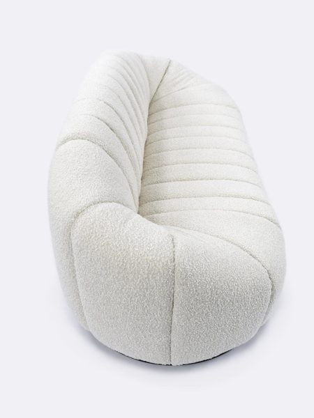 Lily Sofa in Ivory boucle fabric - top/side view