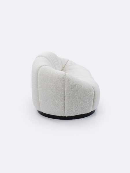 Lily Sofa in Ivory boucle fabric - side view