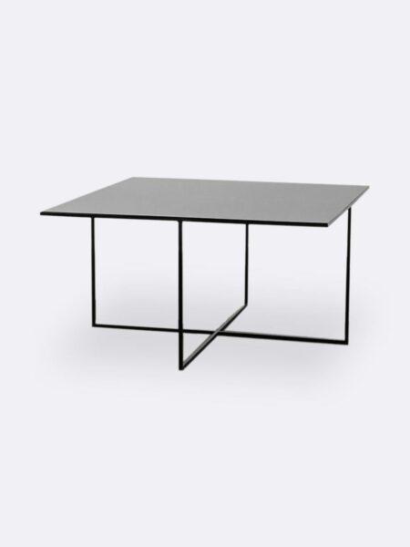 Mia black metal square coffee table large size 80x80cm