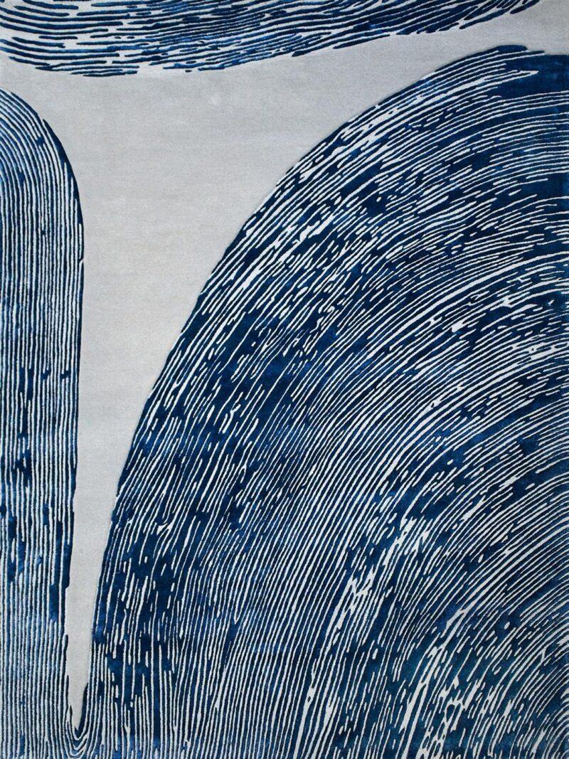 Niagara Denim organic design textured rug in navy blue and grey
