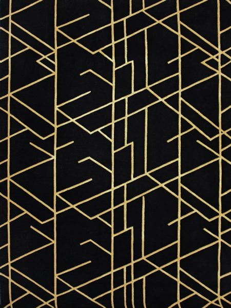 Opera Nightfall black and gold rug with Art Deco style design handmade in wool and artsilk