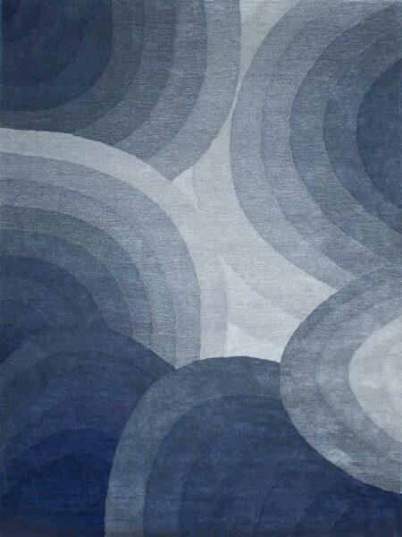 Orbit Windsky handmade rug 100% wool in blue grey tones