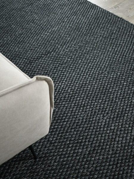 Palmas Frost dark grey flatweave rug handmade in 100% wool - lifestyle image