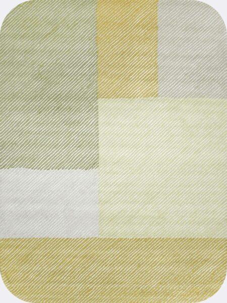 Pinstripe Citrus modern handtufted loop pile rug in yellow tones