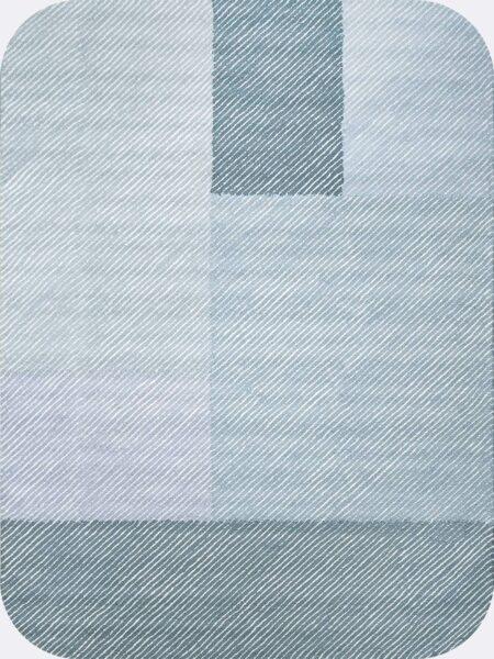 Pinstripe Oasis modern handtufted loop pile rug in blue tones