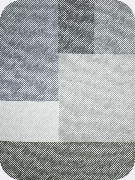 Pinstripe Seal modern handtufted loop pile rug in grey tones