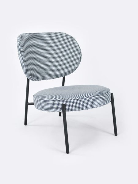 Piper Royal Blue Club Chair in houndstooth fabric