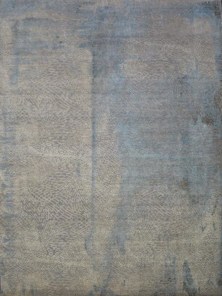 Soho 216 Silver Blue luxury handknot rug in wool and natural silk - overhead image