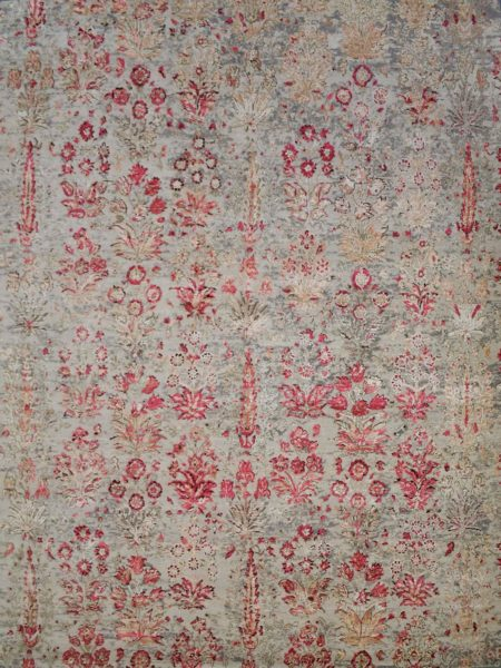 Soho 218 Beige luxury handknot rug in wool and natural silk - overhead image
