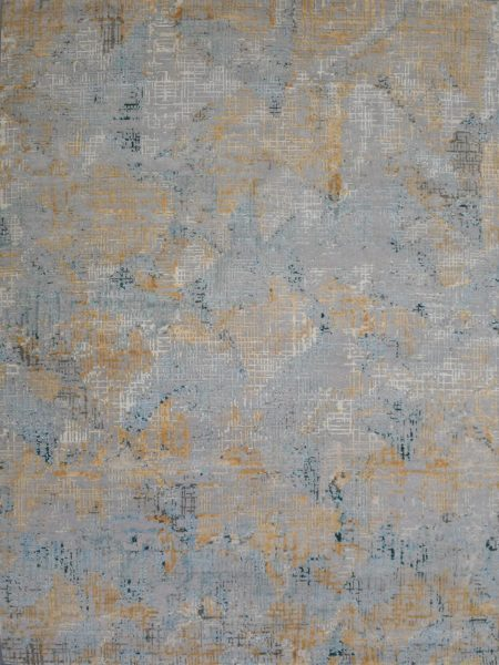Soho 222 Silver luxury handknot rug in wool and natural silk - overhead image