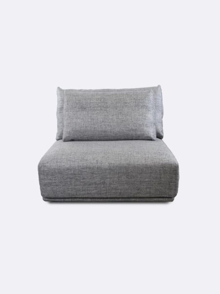 Stella Armless Lounge upholstered in Quarry grey fabric