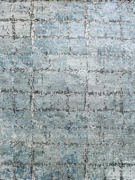 Zurich Handknot rug silver blue overhead