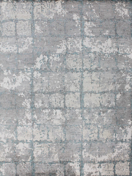 Zurich Silver Teal handknot rug overhead