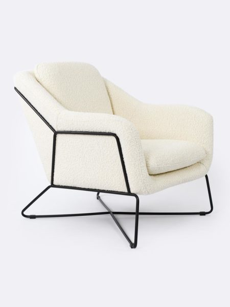 Charlie Occasional Chair in Ivory boucle fabric with matte black powder-coated metal frame.