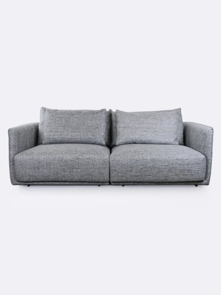 Stella Lounges pair in Quarry grey fabric - front view