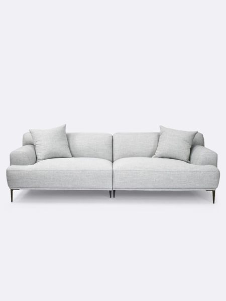 Alexis 3 seater sofa in Fog grey fabric - front view with cushions