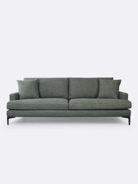 Zane Sofa upholstered in Banksia green fabric - front view with cushions