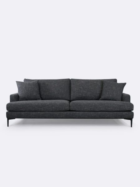 Zane Sofa upholstered in Cinder charcoal grey fabric - front view with cushions