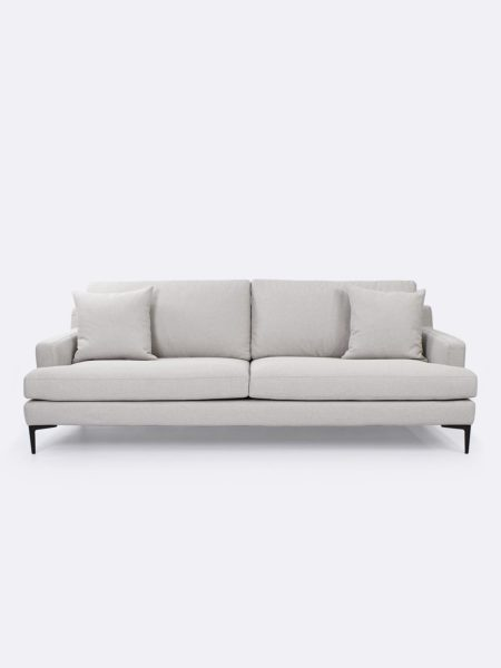 Zane Sofa upholstered in Wheat beige fabric - front view with cushions