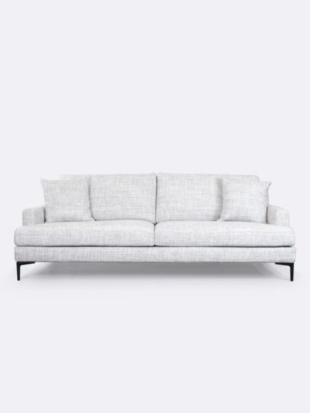 Zane Sofa upholstered in Whisper grey fabric - front view with cushions